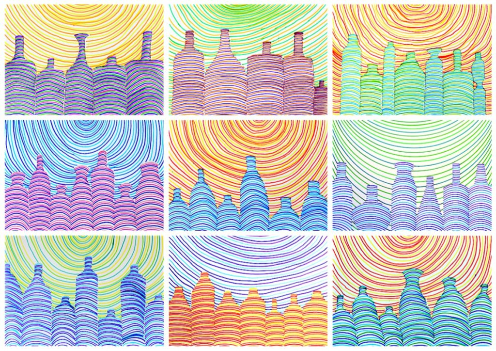 Drawing Bottles With Parallel Lines
