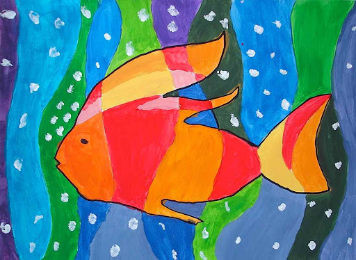 Fishes in warm and cool colors for Colori caldi e freddi disegni
