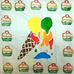 Print and stencil decorations on cotton fabric