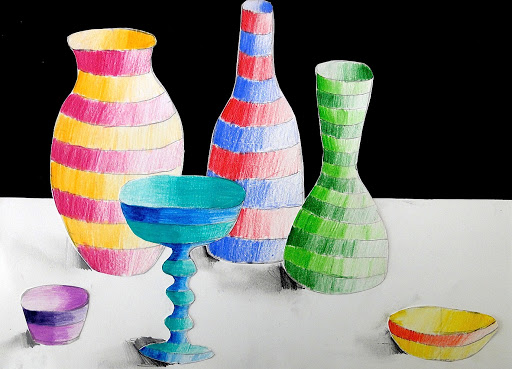 Striped bottles and vases
