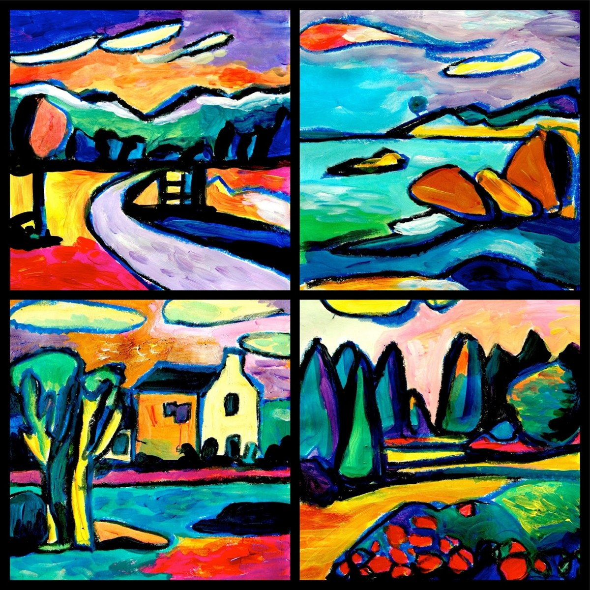 From A Photo Of Simple Landscape I Tried To Inspire My Paintings In The Style Kandinsky He Painted Many Landscapes Where It Is Recognizable