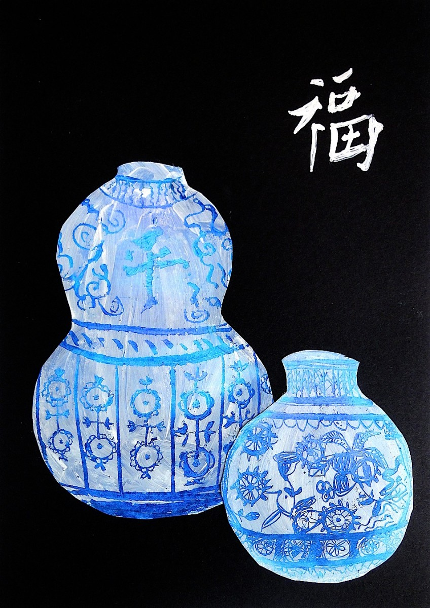 ive tried an effective technique to imitate the ming vases the typical chinese vases in white porcelain with blue decorations