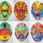 Symmetrical masks painted