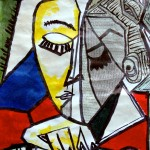 A portrait by Picasso made with collage