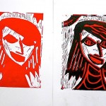 Two-color prints inspired by German Expressionism