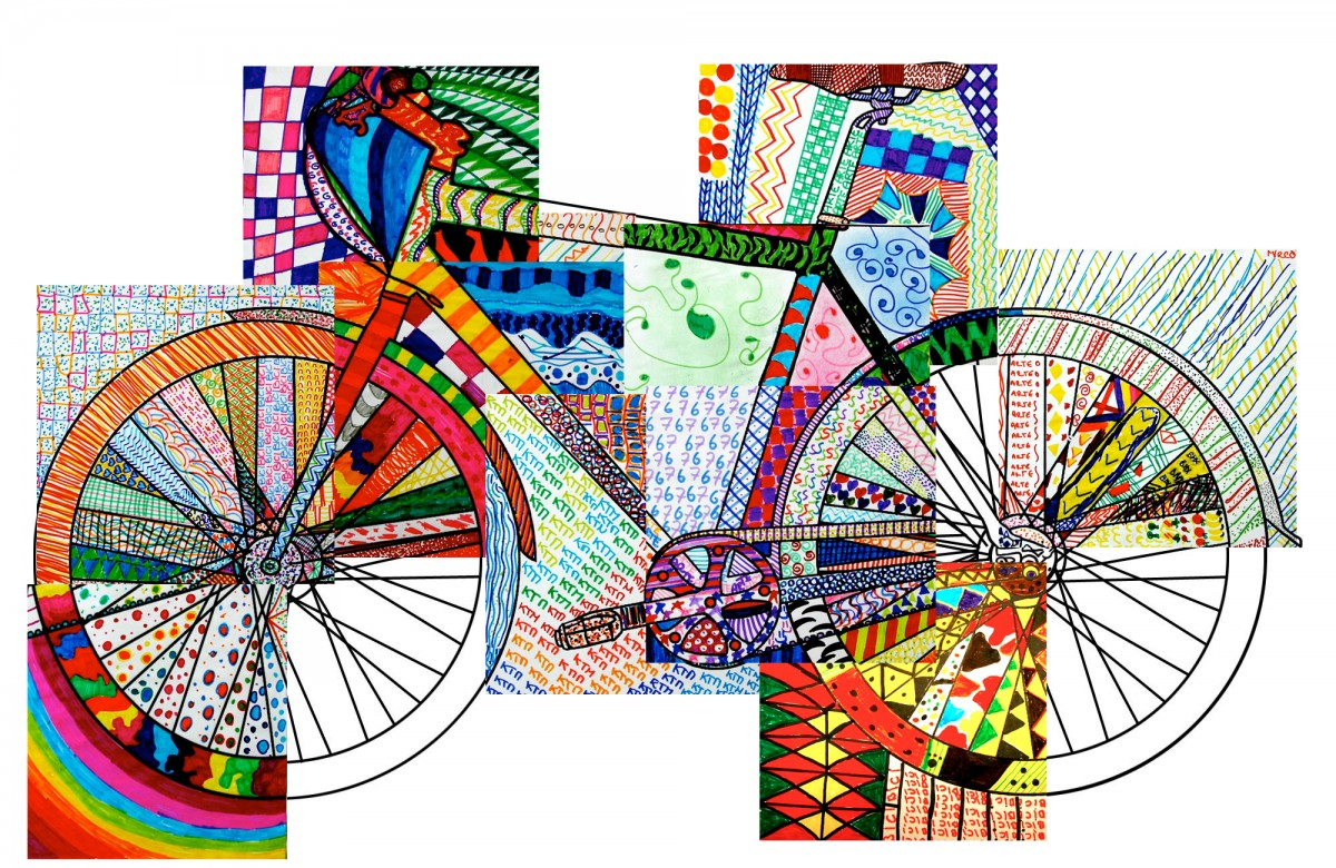 Bicycle texturized 20 printable worksheets for Zentangle per bambini
