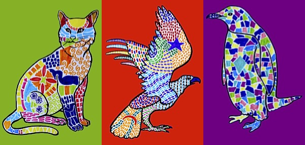 3 mosaics animal