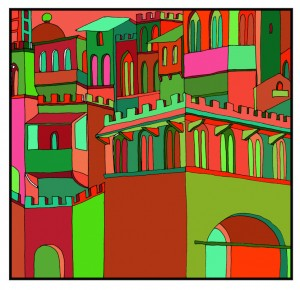 medieval city complementary colors