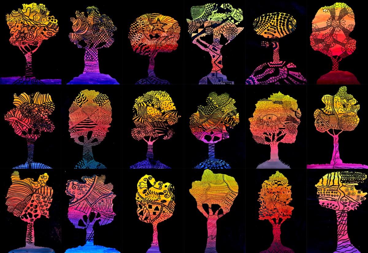Come Creare Il Viola alberi in gradazioni cromatiche e zentangle