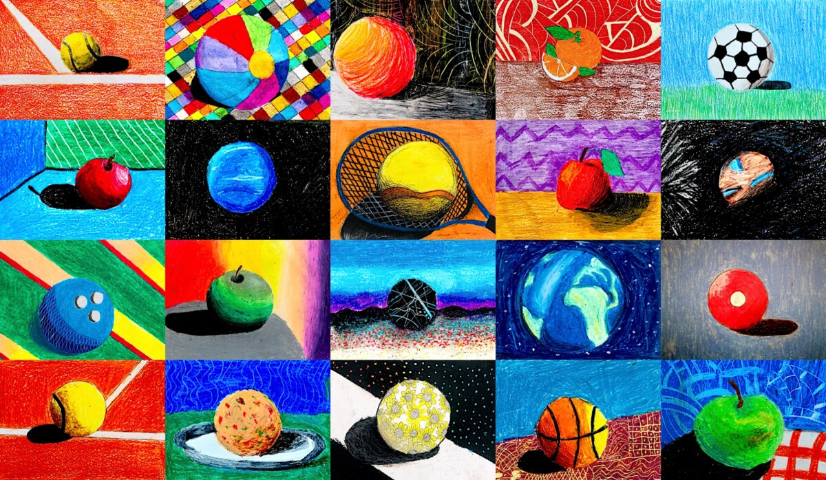 Oil pastels: many ideas for a sphere – Arte a Scuola