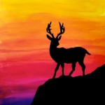 Silhouette on colorful gradation