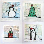 Christmas cards on scraps of map