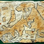Ancient map colored with coffe