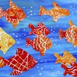 So many goldfish! Prints with styrofoam