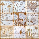 Sgraffito tiles: terracotta clay and white slip